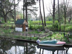 spring garden with boat