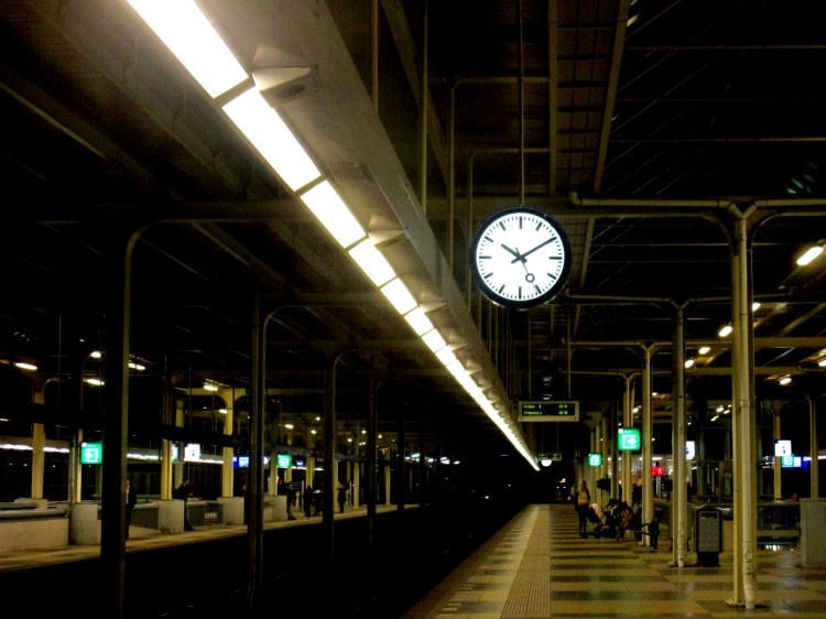 station at night