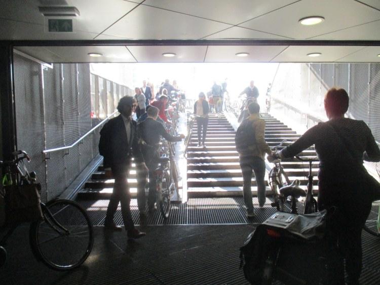 leaving the bike garage